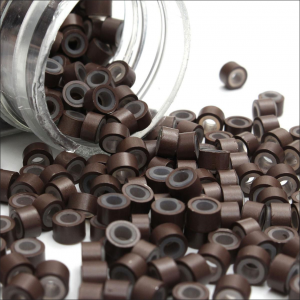 Brown silicone hair extension beads