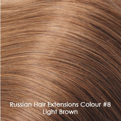 Russian Hair Extensions - #8 Light Brown